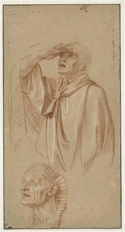 Homme drapé, debout ; tête de femme coiffée à l'Egyptienne