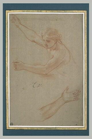 Homme nu, à mi-corps, levant le bras droit et tenant un calice. Bras gauche