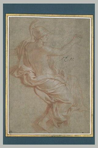 Femme demi-nue, casquée, de profil