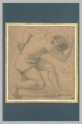 Homme demi-nu, de profil, les jambes fléchies