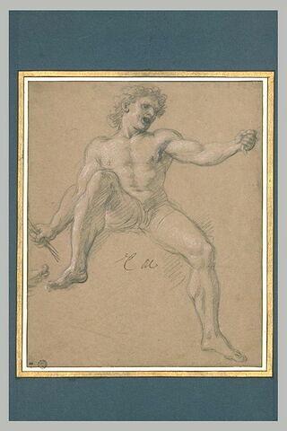 Homme nu, assis, les jambes ouvertes, le bras gauche levé