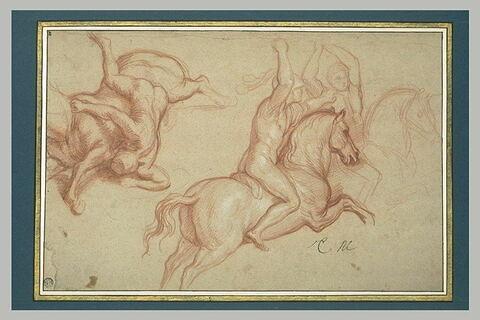 Deux cavaliers au combat ; un cavalier renversé
