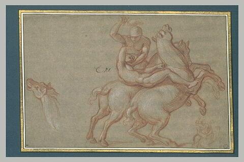 Combat de deux cavaliers ; tête de cheval