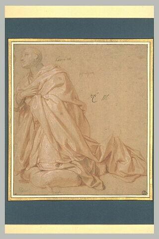 Homme drapé, à genoux, de profil