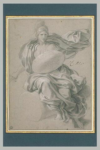 Femme assise, drapée et casquée