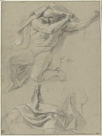 Homme nu, la tête couverte d'une draperie ; étude de draperie
