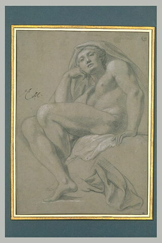 Femme nue, assise, la tête couverte d'une draperie