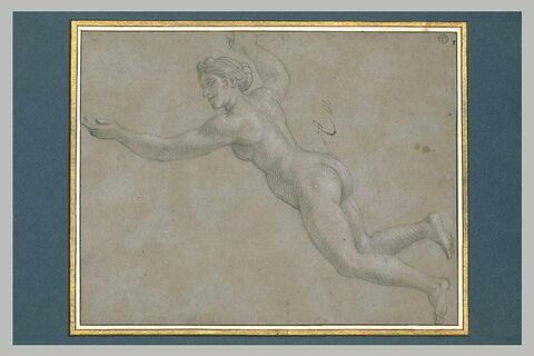 Femme nue, volant vers la gauche