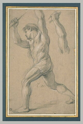 Homme demi-nu, avançant vers la gaucher, les deux bras levés