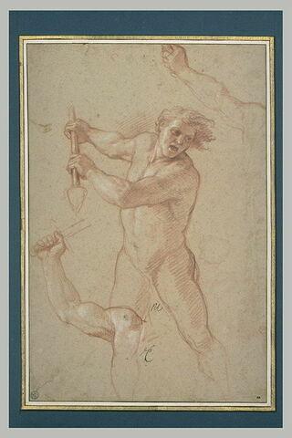 Homme nu, debout, tenant une lance ; deux études de bras