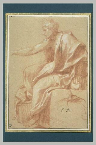 Homme drapé assis, tournée vers la gauche