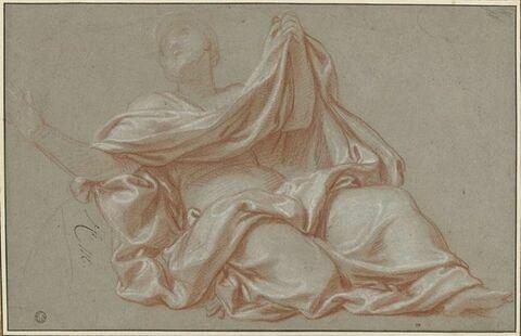 Femme drapée, les bras écartés