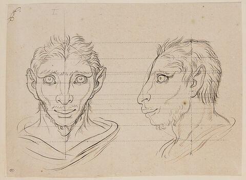 Deux têtes d'hommes en relation avec l'âne