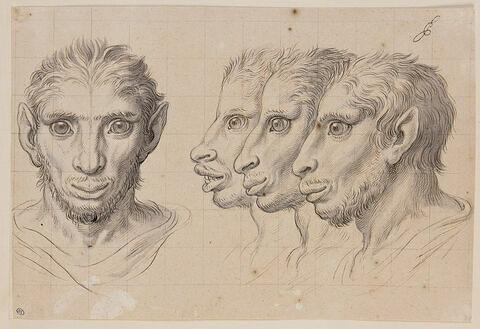 Quatre têtes d'hommes en relation avec l'âne