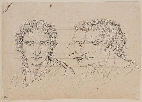 Trois têtes d'hommes en relation avec l'aigle