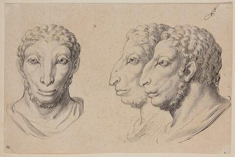 Trois têtes d'hommes en relation avec le bélier