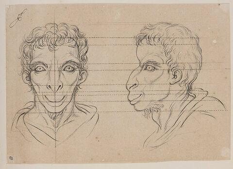 Deux têtes d'hommes en relation avec le chameau