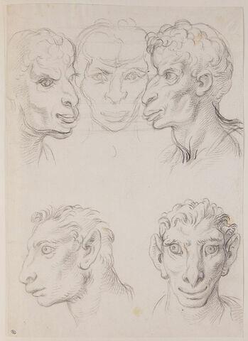 Trois têtes d'hommes en relation avec le chameau et deux têtes d'hommes...