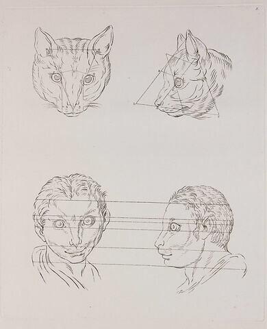 Deux têtes de chat et deux d'homme en relation avec le chat