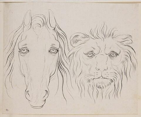 Une tête de cheval et une tête de lion