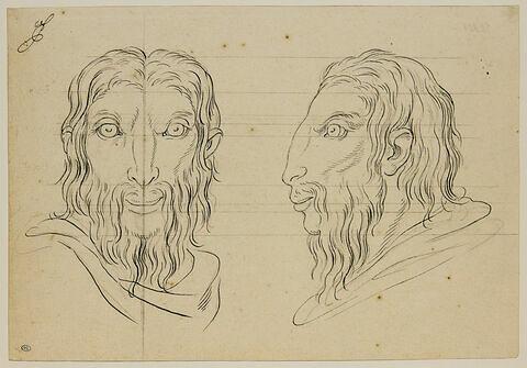 Deux têtes d'hommes en relation avec le bouc