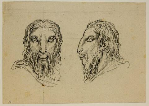 Deux têtes d'hommes en rapport avec le bouc