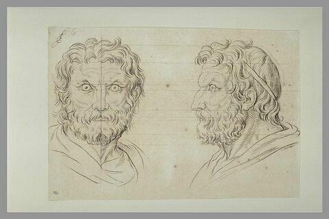 Deux têtes d'hommes en relation avec le lion