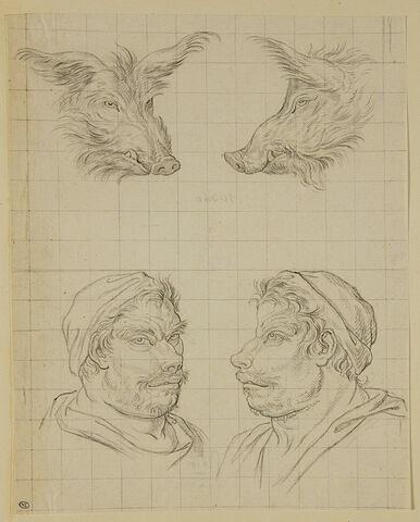 Deux têtes de sanglier et deux têtes d'hommes en relation avec le sanglier