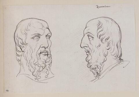 Deux têtes de philosophe antique dites de Démosthène