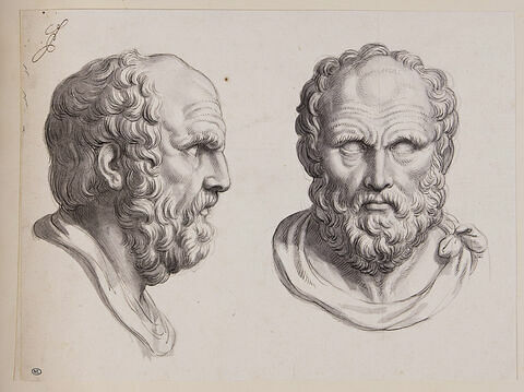 Deux têtes de philosophe antique dites de Diogène