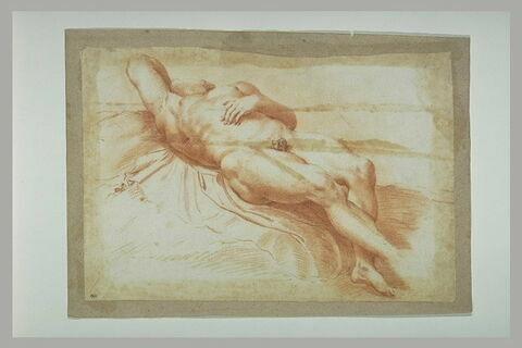 Homme nu, étendu sur le dos, de face, en raccourci