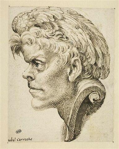 Masque de profil : jeune homme coiffé d'une aile