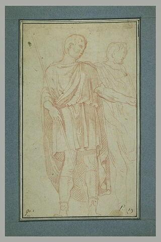 Deux hommes debout, drapés, d'après l'antique