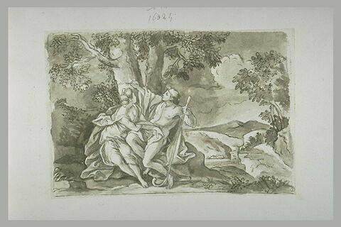 Médor gravant le nom d'Angélique sur un arbre