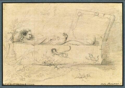 Portrait de l'artiste dans un cerceuil entouré de symboles de la mort