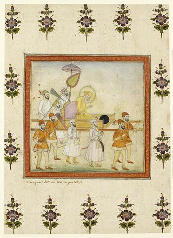 L'empereur Aurangzeb porté en palanquin