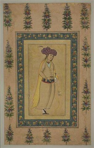 Echanson au turban lilas : indien debout, tenant un vase dans chaque main