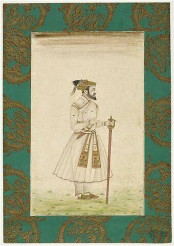 Portrait de l'empereur Shah Jahan : figuré dans la fleur de l'âge, il est debout, la tête de profil, tenant épée et poignard