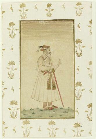 Portrait de l'empereur Shah Jahan : vu en pied, il tient une fleur et porte une longue épée