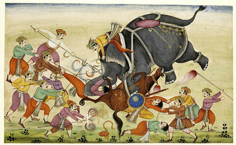 Eléphant renversant un cavalier