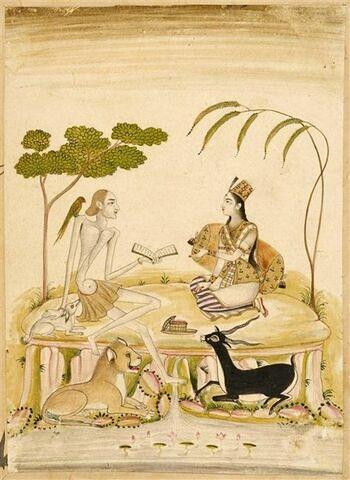 Leila et Majnun dans le désert : les deux amoureux du célèbre poème de Jami sont figurés assis l'un en face de l'autre; une antilope et un lion sont couchés à leurs pieds