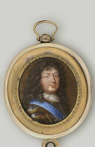 Portrait de Louis XIV avec armure et cordon bleu