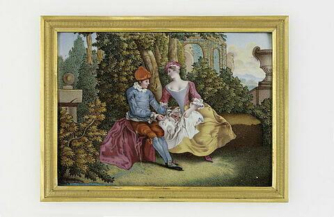 Une dame et un jeune paysan assis dans un jardin