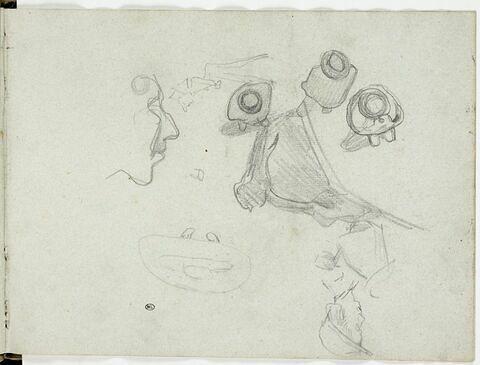 Trois hommes couverts d'un chapeau vue de dessus et caricatures