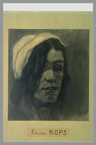 La marchande de Krickels : tête de femme coiffée d'un bonnet blanc