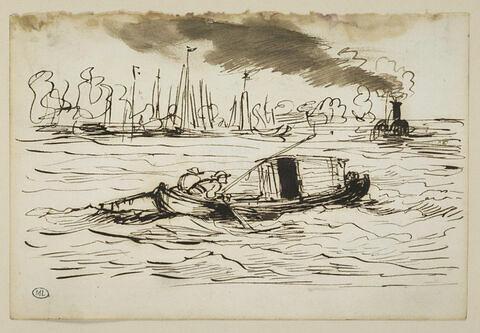 La Botin passant au large des bateaux