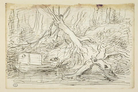 Le Botin amarré sous un arbre