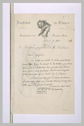 Lettre adressée à Chapu par Delaborde