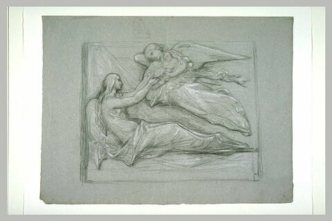 Ange apportant à une femme étendue un enfant