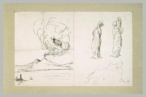 Hanneton au-dessus du Vésuve, deux statuettes de Tanagra, et groupe sculpté